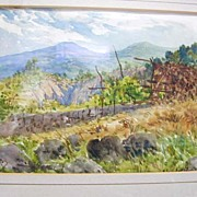 REDUCED French scenic watercolor by listed artist Alexis Mossa (1844-1926)