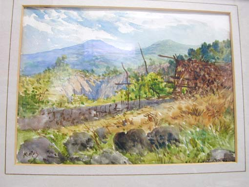 French scenic watercolor by listed artist Alexis Mossa (1844-1926)