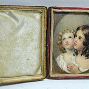 Exquisite Mid-Victorian Portrait on Ivory of 2 Children Praying (in original case)