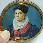 Early French Portrait Miniature on Ivory w/ Monogram Back