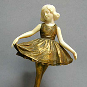 Art Deco Campbell Gilt Bronze and Ivory Statue of Ballet Girl