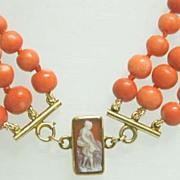 Victorian 3-Strand Coral Necklace with 12K Gold Hardstone Cameo Clasp