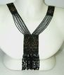 Jet and Steel Insect Beaded c.1900 French Sautoir Necklace