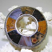 SALE Scottish Silver and Agate Pin/Pebble Brooch with Moss Agates