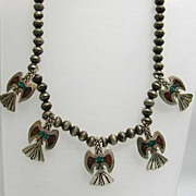 REDUCED Fabulous Southwestern Navajo Eagle Necklace by Bobbie Piaso
