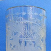 REDUCED c. 1750 Large Multiple-scene Etched Tumbler