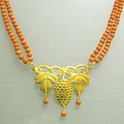 "REDUCED Exquisite 18K Gold and Coral Victorian ""Grapes"" Necklace"