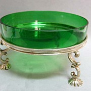 REDUCED Antique Victorian Goldsmiths Silver Footed Green Glass Bonbon on