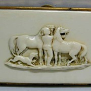 Exquisite c. 1910 Dieppe Carved Ivory Hunting Theme Cigar Case
