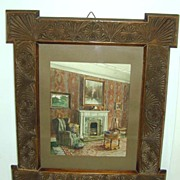 c. 1900 Room Interior Watercolor in Jacobean Revival Frame