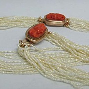 Fabulous Victorian Carved Coral, Gold & Seed Pearl Necklace/Bracelet Parure