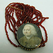 Exquisite 18th c. Ivory Portrait Miniature 14K Gold, Silver & Carnelian Bracelet