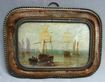 Rare 17th c. Miniature Marine Oil in Bronze & Velvet Frame