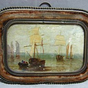 REDUCED Rare 17th c. Miniature Marine Oil in Bronze & Velvet Frame
