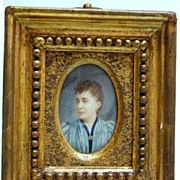 Wonderful Late Victorian Miniature Portrait on Ivory - Signed