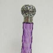 REDUCED Silver Topped Amethyst Glass Perfume Bottle