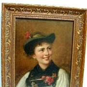 SALE Rosa Hohenberg Signed Oil on Canvas - Tyrolean Woman