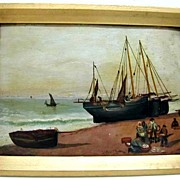 SALE Early 20th c. Small Oil on Board - Fishing Vessel and Shore Scene