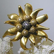 19th. c. French 22K & Diamond Edelweiss Brooch