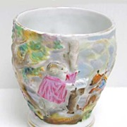 Charming 19th c. Majolica Child's Sitzendorf Story Cup