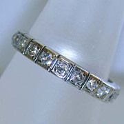 Art Deco Era 18K White Gold 1 ct. Diamond Eternity Wedding Band Ring