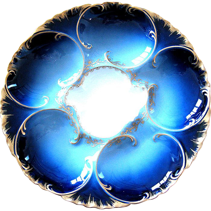Flawless Antique Haviland Oyster Plate ~ Cobalt