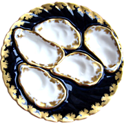 Antique Haviland Elaborate Oyster Plate ~ Cobalt & Gold