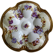 Antique Oyster Plate ~ Sweet Pansies