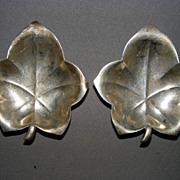 2 Tiffany Sterling silver nut dishes maple leaf form