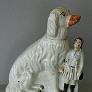 Antique Staffordshire Afghan Dog & Child
