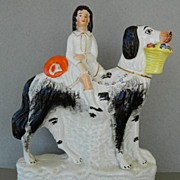 Antique Staffordshire Child & Large Dog With Flower Basket