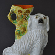Antique Staffordshire Spaniel Dog Spill Vase