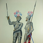 "SALE Sir Samuel Meyrick Engraving ""Two Suits of Armour"" from �A Critical Inquiry int"
