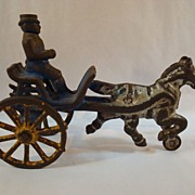 American Cast Iron Toy Horse and Buggy with Gentleman
