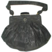 Fine Vintage Black Moire Silk/Jeweled Evening Bag/Purse