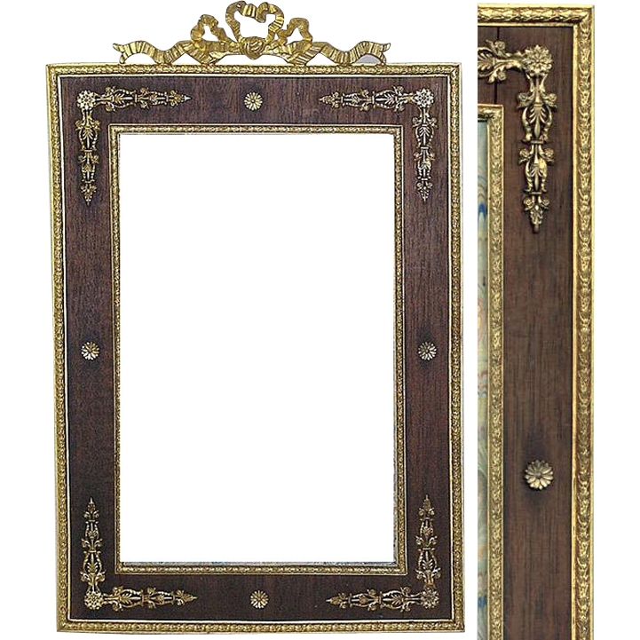 Rare Antique French Empire Ormolu & Wood Picture Frame ...