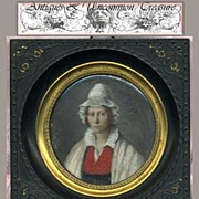 SALE Superb Hand Painted 1820s French Portrait Miniature, Gutta Percha Frame