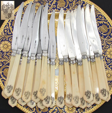 "RARE 24pc Antique French 8"" Knife Set, Armorial Carved Handles & Silver: Cardeilhac silversmith marks, 12/12 set"