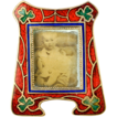 Antique Miniature Vienna Enamel Gem Frame, Red & Green