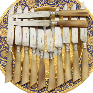 Antique 12pc Set French Silver & Horn handle Dinner Knife Set