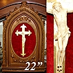 Fab Antique French 22&quot; Altar Frame, Carved Ivory Christ Figure