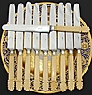 Elegant Antique French 10pc 10&quot; Knife Set, Carved Ivory Handles