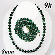 SALE Fine Vintage 9k Gold & 8mm Russian Malachite Necklace