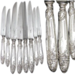 Rare Antique French Sterling Silver 24pc Table Knife Set, Ornate Empire Floral Pattern