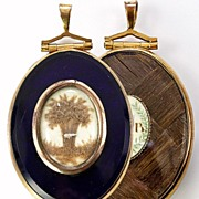 SALE Exquisite Georgian 12k Yellow Gold Mourning Pendant, Locket, Fine Hair Art