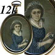 SALE Superb Antique French Revolution Era Portrait Miniature in 12k Gold Fusee Locket Type Fra