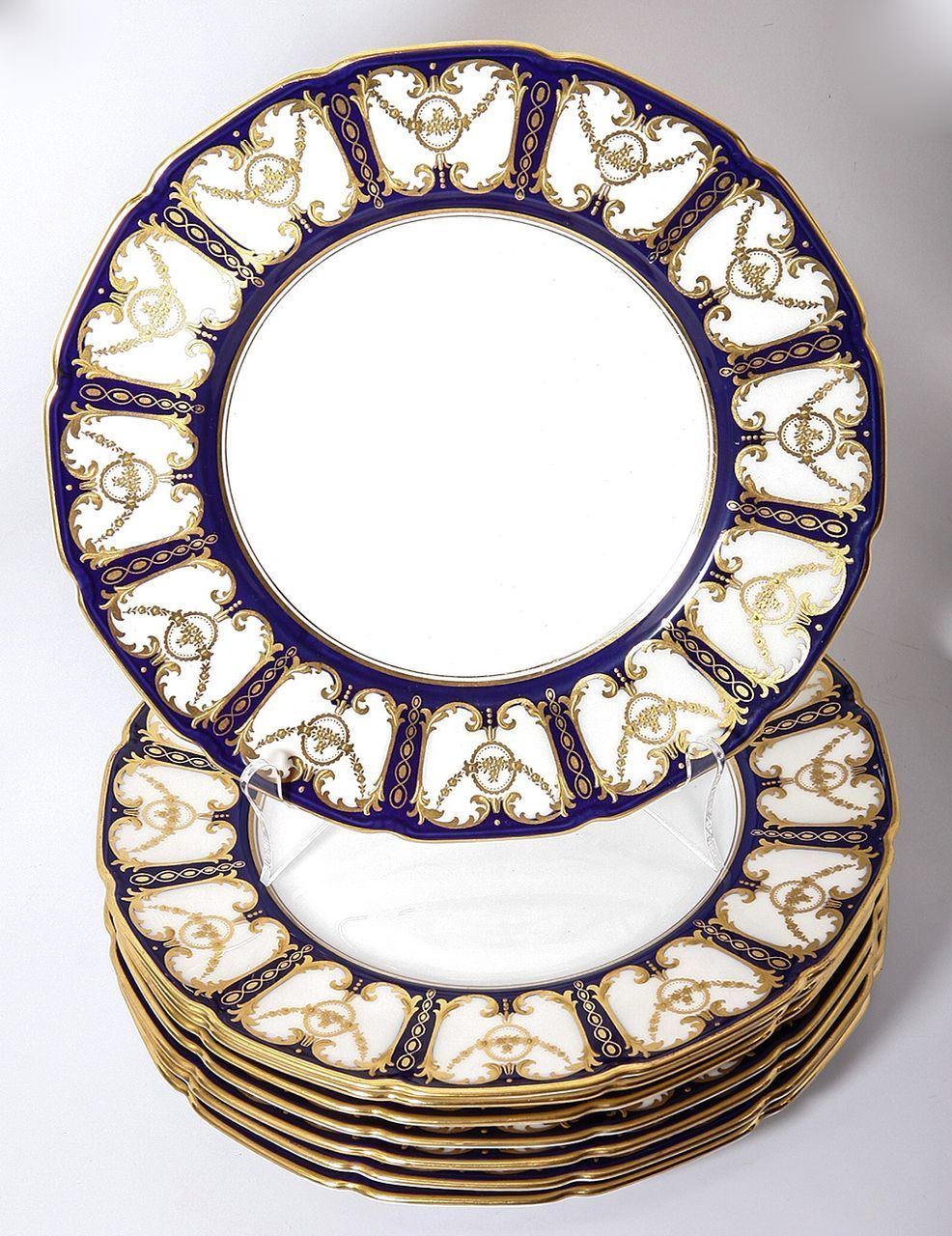 C 1921 Royal Doulton 11pc Dinner Plate Set Encrusted Raised Gold Enamel Cobalt