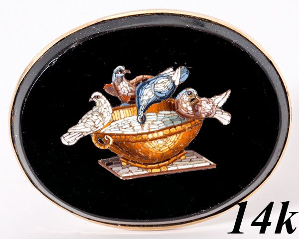 Antique c 1860 Victorian Era Micromosaic Brooch, 9k Gold, Micro Mosaic Doves of Pliny