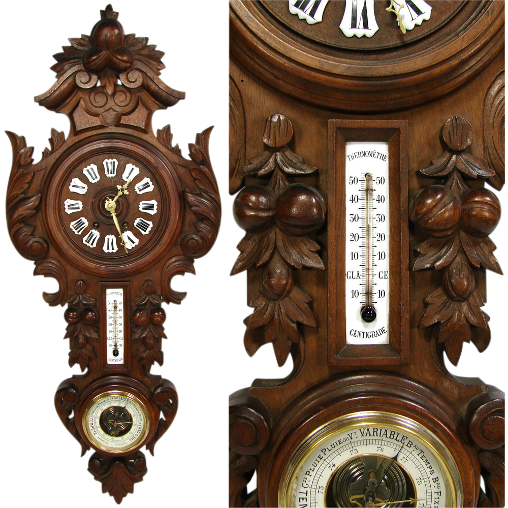 Lg antique french black forest style carved wall clock