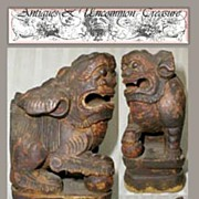SALE Ancient Tibetan Carved Wood Foo Dragon/ Temple Dog/Lion - 17th-18th century